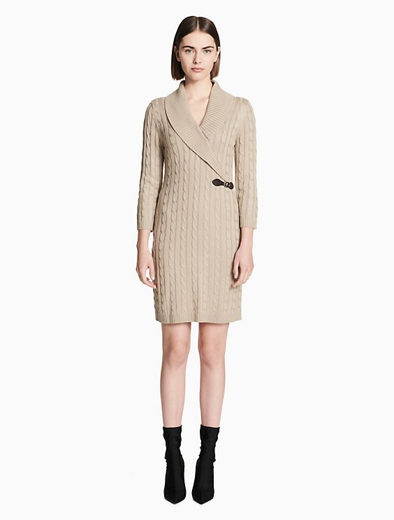 Cable Knit Sweater Dress Calvin Klein