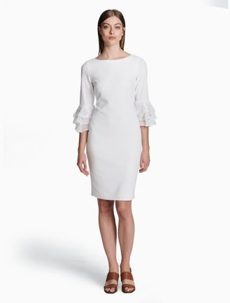 Calvin Klein Collection Woman Pleated Knitted Silk Mini Dress Ivory Size L Calvin Klein