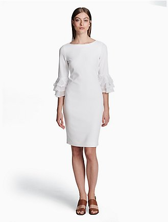 New Arrival Sale Online Original Calvin Klein Collection Woman Pleated Knitted Silk Mini Dress Ivory Size L Calvin Klein Outlet Locations Sale Online Pay With Visa Cheap Online KZCigb
