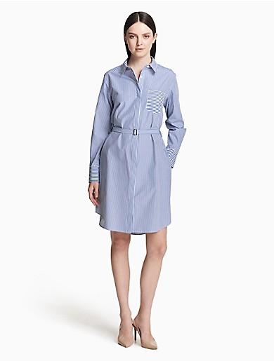 9050aa5f6a52b striped cotton belted shirt dress