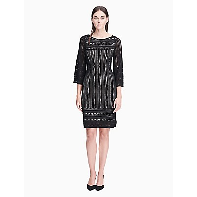 7719a5c151f perforated 3 4 sleeve sweater dress