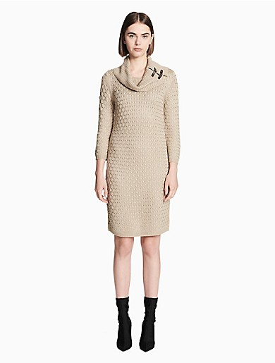 705343bf980 textured cowl neck sweater dress