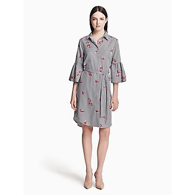 d0ed1713 floral embroidered bell sleeve shirt dress | Calvin Klein