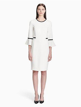 cedf4b31 piped bell sleeve sheath dress