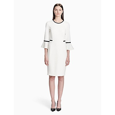be16ff08 piped bell sleeve sheath dress | Calvin Klein