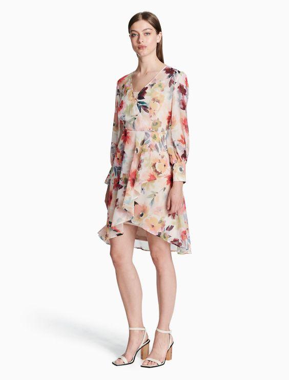 Chiffon Longsleeve Dress Calvin Klein