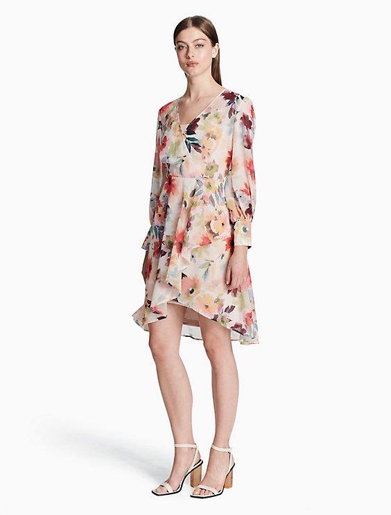 Chiffon Longsleeve Dress Calvin Klein kFtPzoBiP
