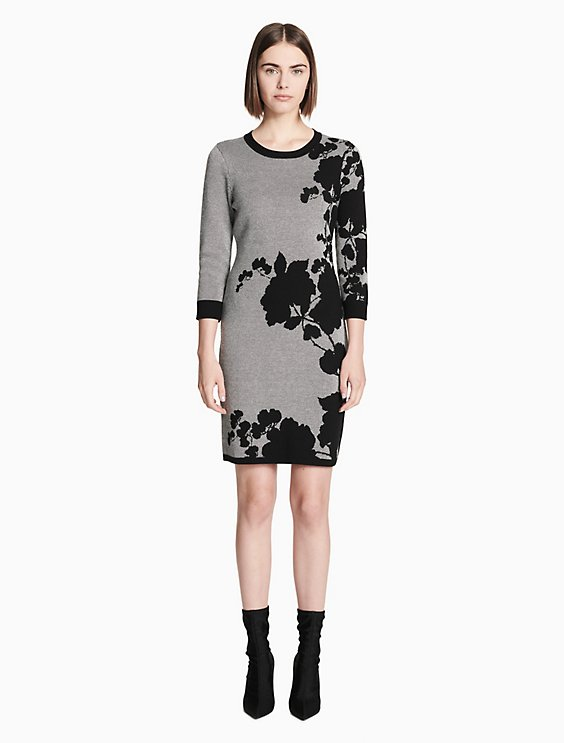 floral 3 4 sleeve sweater dress  d57962306