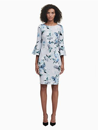 922dd410f9eb5 floral 3 4 bell sleeve sheath dress