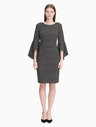 75856eccb4 striped bell sleeve sheath dress