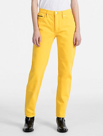 straight cropped jeans - Yellow & Orange U.P.W.W. itudgKjnq