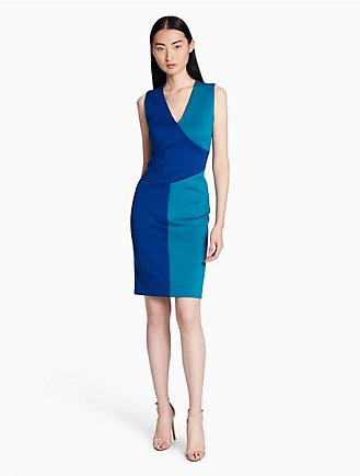 Colorblock V Neck Sheath Dress