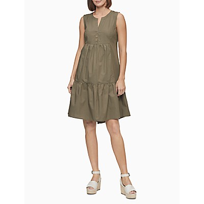 Solid Button-Front Flounce A-Line Dress