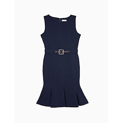 Solid Belted Flutter Hem Sheath Dress