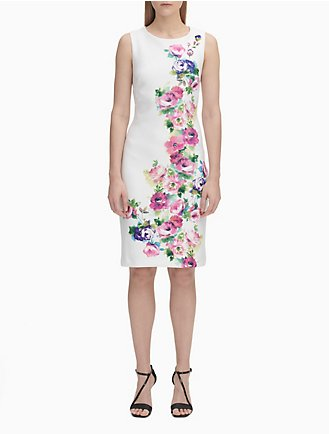 4061c31d21 Floral Print Sleeveless Sheath Dress