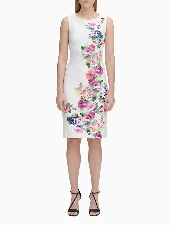 5790ef9808cd Floral Print Sleeveless Sheath Dress | Calvin Klein