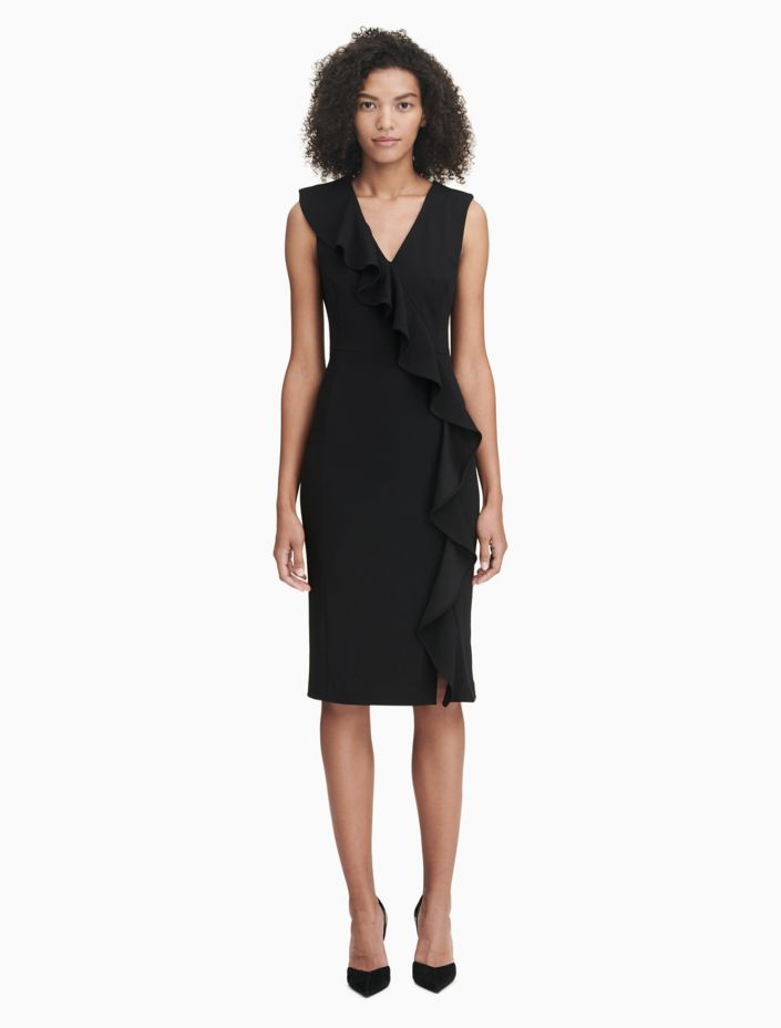 Ruffle Front Sheath Dress by Calvin Klein