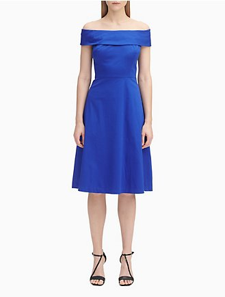 9d57b9ec237b Cotton Off-The-Shoulder A-Line Dress
