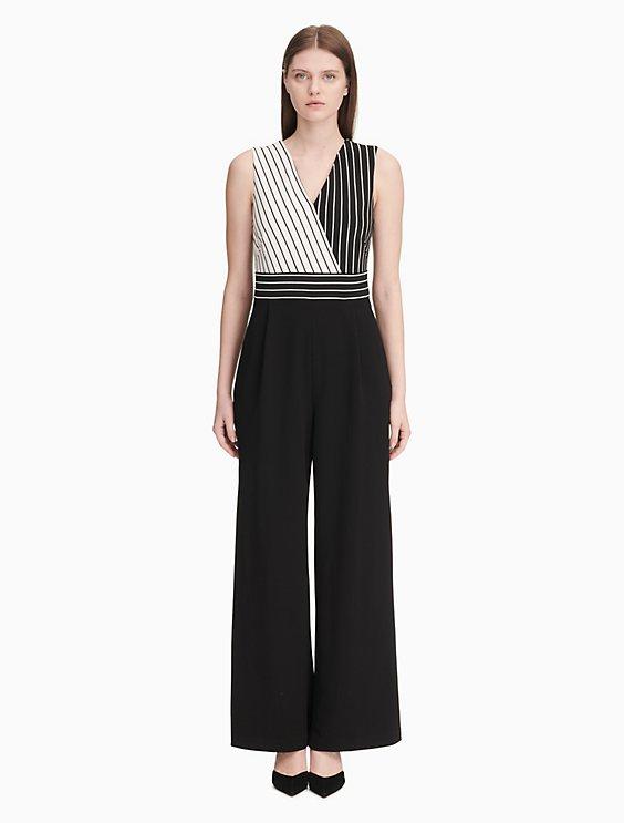 0fb68fe89c64 striped v-neck jumpsuit