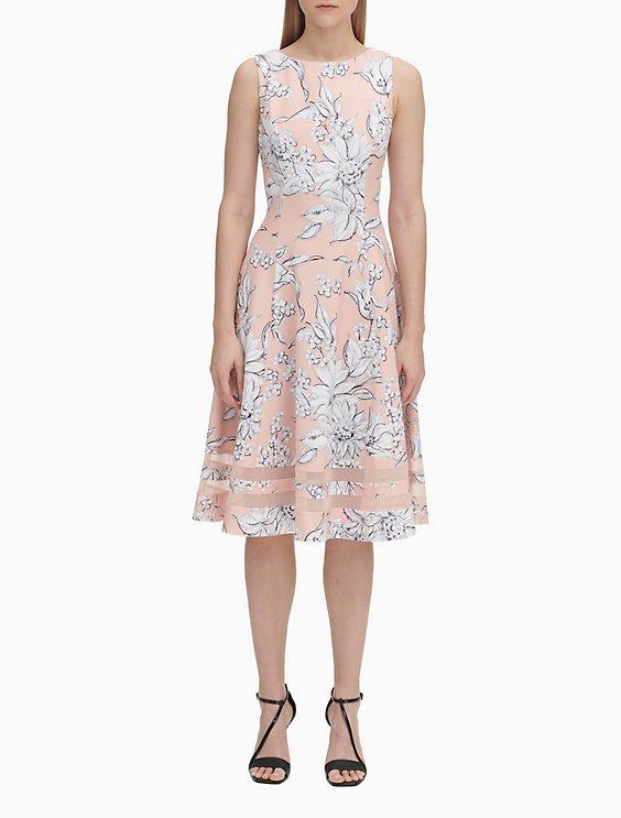 d2035752 Floral Print Illusion Hem Dress | Calvin Klein