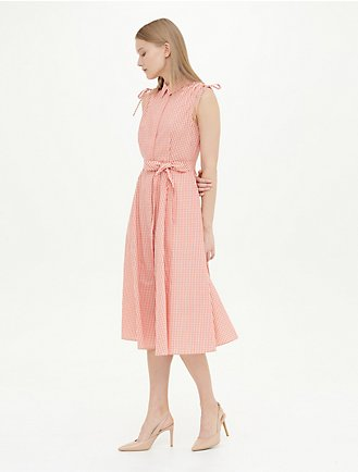 563c800a5f0 Gingham Sleeveless Belted Maxi Dress