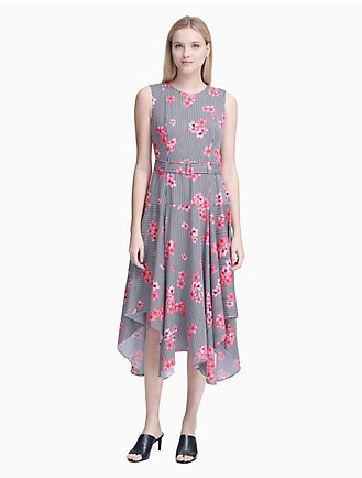 829382e7bf floral belted handkerchief dress