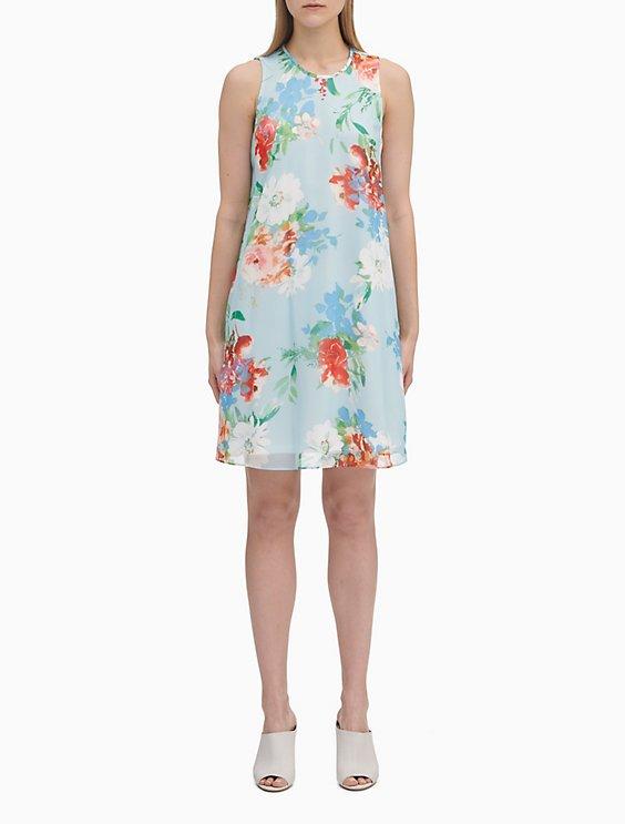 5c0e68a3f815 Floral Print Chiffon Trapeze Dress   Calvin Klein