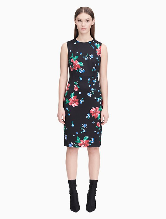 69106e2f floral scuba sheath dress | Calvin Klein