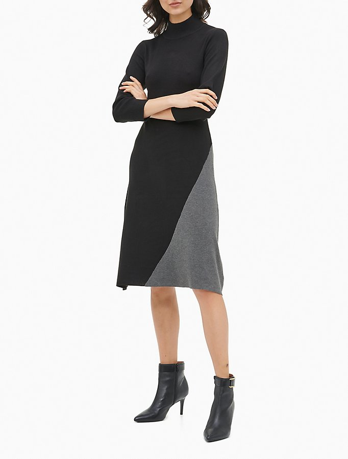 Colorblock 3/4 Sleeve Sweater Dress by Calvin Klein