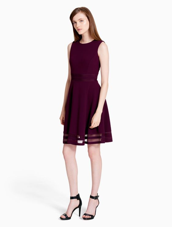 Mesh Fit Flare Dress Calvin Klein