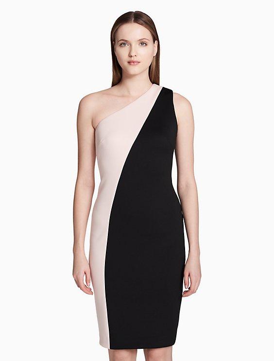 one shoulder colorblock sheath dress   Calvin Klein