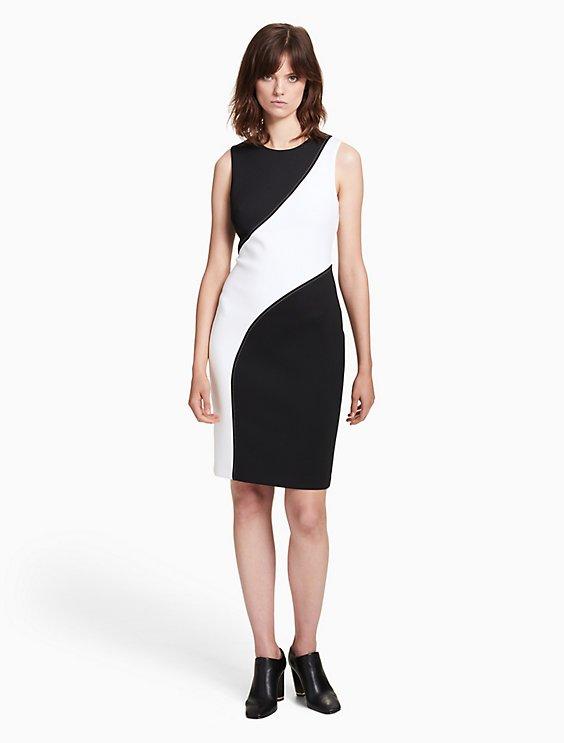Black White Colorblock Sheath Dress