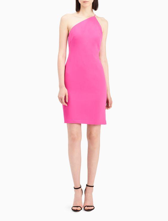 One shoulder sheath dress