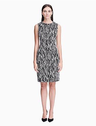 8222f6b6 printed sleeveless sheath dress
