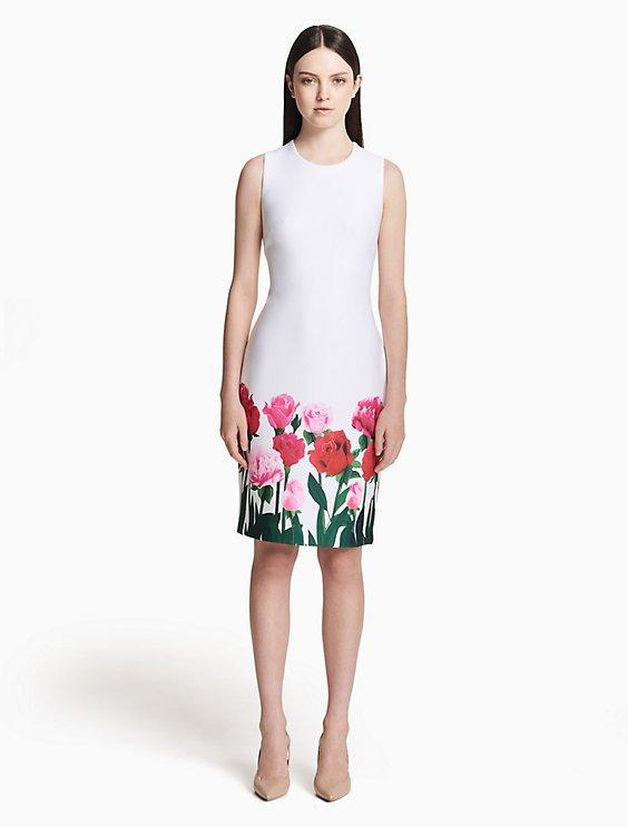 96fbe925 scuba floral hem sheath dress   Calvin Klein