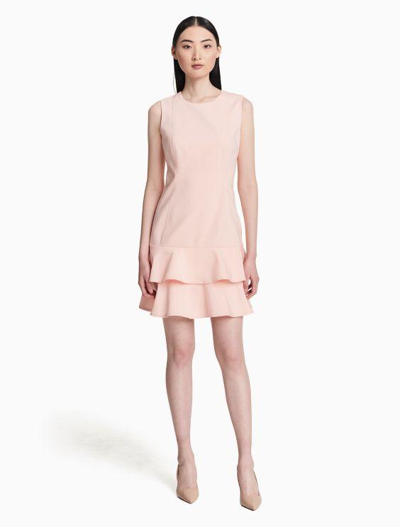 Cotton Stretch Tiered Ruffle Dress by Calvin Klein