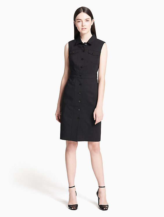 ffb05379c40d cotton stretch button-front shirt dress | Calvin Klein