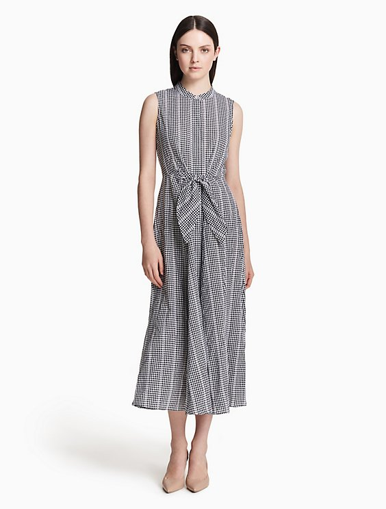 Clearance gingham band collar tie-front maxi dress 2ffb82efad7c