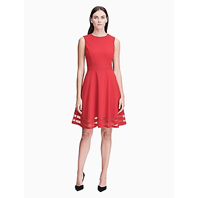 Illusion Fit Flare Dress Calvin Klein