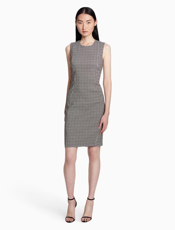 Jacquard Compression Sheath Dress Calvin Klein