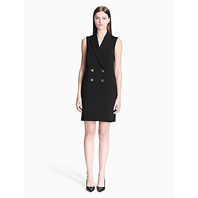 e602c7ea00cb double breasted sleeveless dress | Calvin Klein