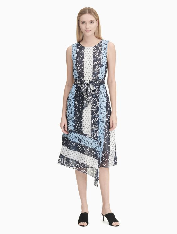 Printed Asymmetric Belted Maxi Dress Calvin Klein