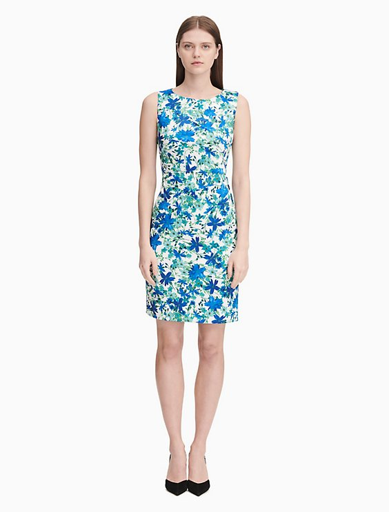ac6a60b059b2 Shoptagr | Floral Starburst Sheath Dress by Calvin Klein
