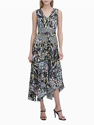 91bd24a0f902 Printed V-Neck Belted Maxi Dress