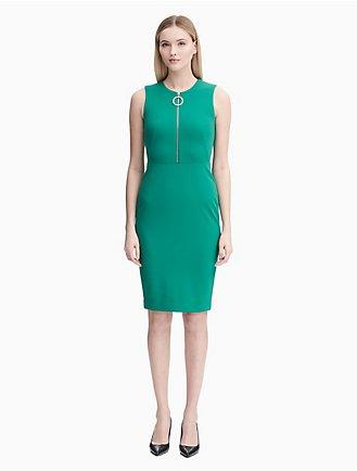 db79d8f7 circular front zip sheath dress