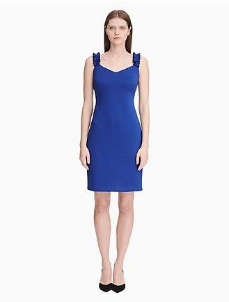 ec94261063 scuba v-neck ruffle strap sheath dress
