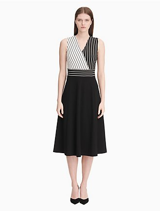 f6e4ba079f65 striped v-neck fit + flare dress