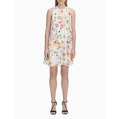 2793e638d561 Flower Print Chiffon Trapeze Dress   Calvin Klein