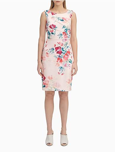 8b92a91848027 Floral Starburst Sheath Dress | Calvin Klein