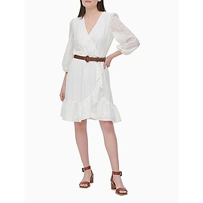 Lace V-Neck 3/4 Sleeve Belted Ruffle Dress